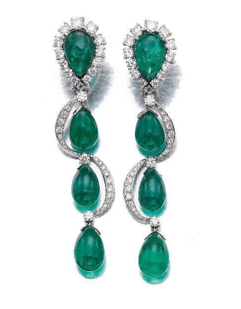 Rosamaria G Frangini | High Floral Jewellery | PAIR OF EMERALD AND DIAMOND PENDENT EAR CLIPS, BULGARI