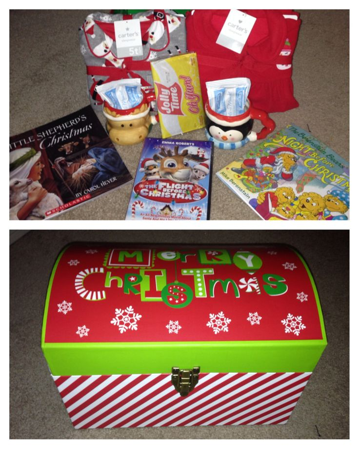 Christmas Eve box! Found the chest at Hobby Lobby and filled it with new Christmas pjs, books, a movie, hot chocolate, new mugs, and popcorn! New tradition! Can reuse the box every year!