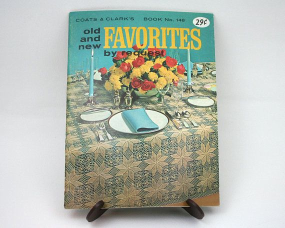 Vintage 1960s crochet knitting tatting patterns, Coats & Clarks 148, holiday tablecloth, doily, bedspread, potholder, tatted edging, pillow from SmilingCatVintage via Etsy
