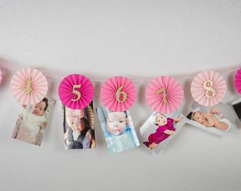 First year photo Banner,Picture banner baby photo display,12 Month Photo Wall Banner,1st Birthday Girl, Monthly Photo Banner.Pink & Gold