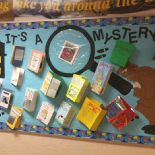 Mystery Books Bulletin Board Idea