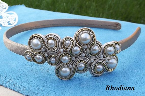 Gold & Cream Soutache Headband by RhodianaSoutache on Etsy