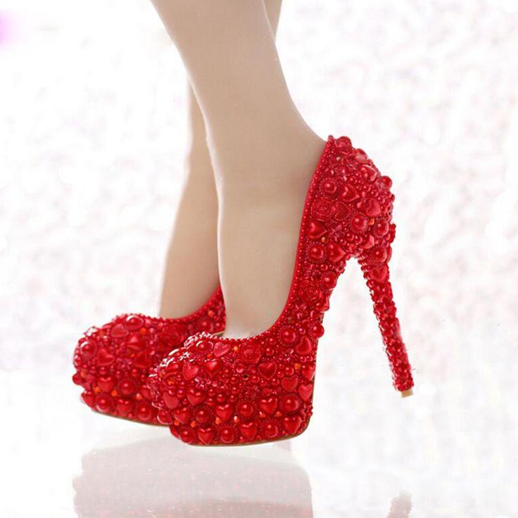 Barato Frete grátis Red sapatos de casamento pérola 2016 mais novo modelo forma do coração da pérola noiva de salto alto partido Prom sapatos para a mamã, Compro Qualidade Bombas das mulheres diretamente de fornecedores da China:              Cor: vermelho                            Forma toe: dedo do pé redondo/apontou Toe