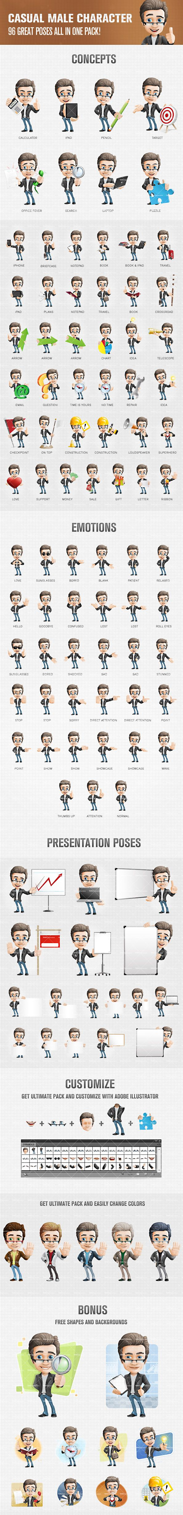 Male cartoon character dressed in casual style. We have designed the male cartoon character in 96 great poses and filled all of them with energy and life. Al
