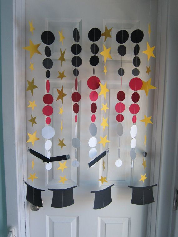 Paper Garland, Decorations, Magic Party, Magic Hats and Wands, Birthday Party Decoration