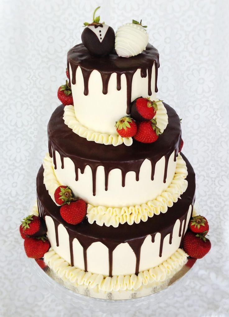 Choklad ganache, bröllopstårta, jordgubbsbrudpar,