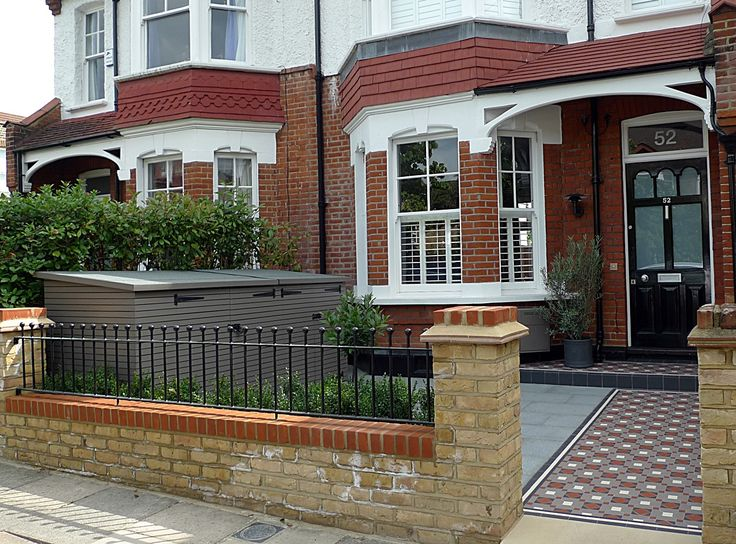 victorian mosaic tile path yellow brick front garden wall granite paving bin bike store metal rail