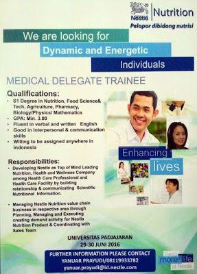 Download File        LOWONGAN KERJA   PT. Nestle Indonesia membuka lowongan untuk posisi:    Medical Delegate trainee    Persyaratan d...