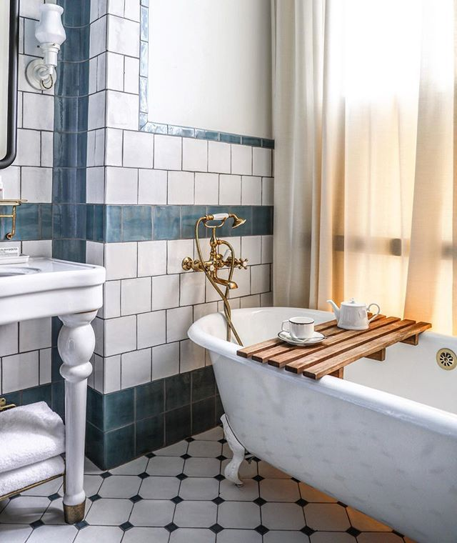 bath tub serenity [ major design inspo at the newly opened Hotel Emma - in San Antonio ] by @zioandsons