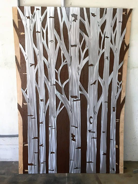 Extra Large Metal Wall Art Aspen Trees Rustic Home Decor Nature