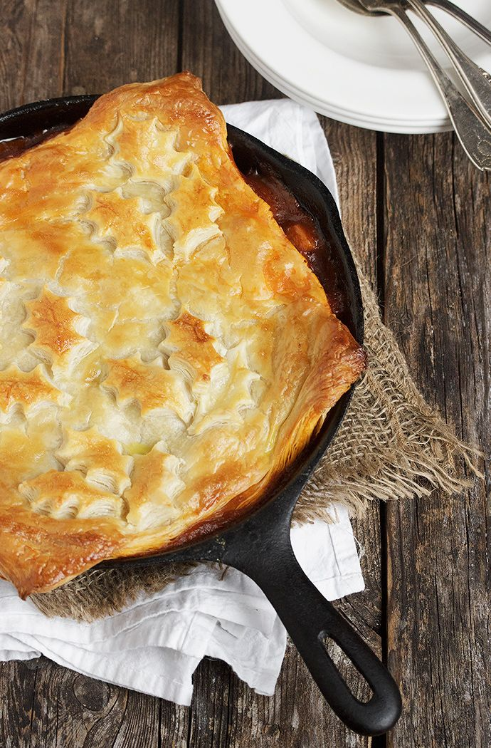 Skillet Beer-Braised Beef and Vegetable Pot Pie with a Puff Pastry Topping
