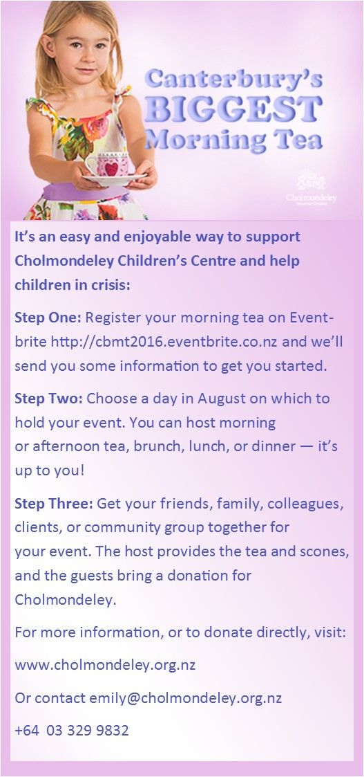 Cholmondeley Children's Centre in New Zealand, offers children short term planned and emergency respite care during times of stress and crisis. Support us and take part in CBMT 2016 this August by registering http://cbmt2016.eventbrite.co.nz