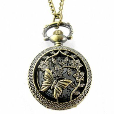 Youyoupifa Retro Design Bronze Butterfly and Flower Openwork Cover Pocket Quartz Watch NBW0PA7101-CO3: Watches: Amazon.com