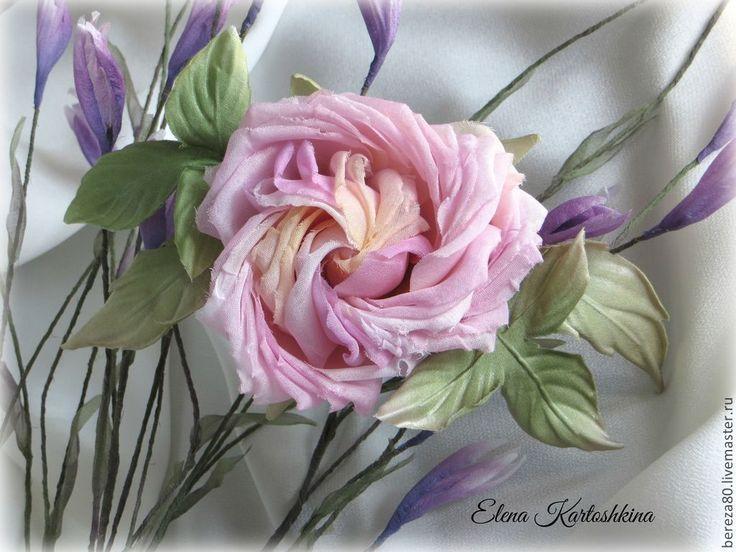 1200гр. роза.Заколка,брошь.Цветы из шелка. - бледно-розовый, пудровый