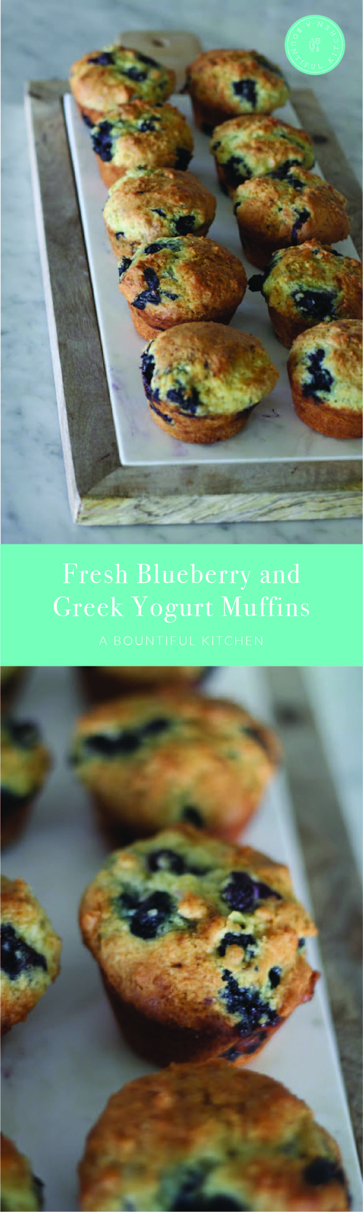 A Bountiful Kitchen: Fresh Blueberry and Greek Yogurt Muffins - I love the faint coconut scent when using coconut oil! Fresh blueberries are found everywhere right now, but frozen can be used in this recipe as well. #blueberry #greekyogurt #muffins #healthy #homemade #breakfast #brunch