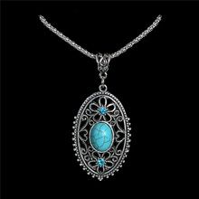 LUCKY YEAR Nice Shipping New Jewelry Bohemia Elegant Hollow Flower Oval Pretty Pendant Turquoise Stone Necklace Wholesale(China (Mainland))