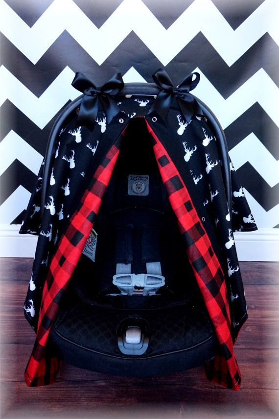 Black and White Deer Head Chevron RED PLAID FLANNEL Antlers, Baby Carseat Canopy Outdoors Hunting, Car Seat Cover, Infant Carrier