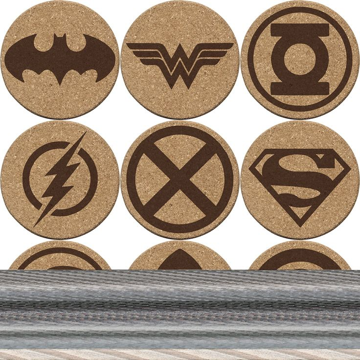 """Justice League Cork Coaster Set of 4, 6, or 8 (Batman, Superman, Wonder Woman, The Flash, Green Lantern, Martian Manhunter, Hawkgirl, Aquaman, Cyborg). Laser Engraved Cork Coasters featuring the Justice League logo on one side and an option of 9 of the most prominent members on the other side. Choose from the following superheroes: • Batman • Wonder Woman • Green Lantern • The Flash • Martian Manhunter • Superman • Hawkgirl • Aquaman • Cyborg Coasters are 5/16"""" thick with a 4"""" diameter…"""
