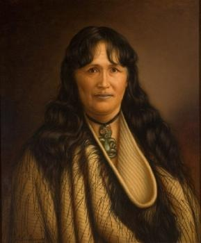 Te Paea Hinerangi (Guide Sophia) oil on canvas painting, by G. Lindauer. (1896) Auckland Art Gallery.
