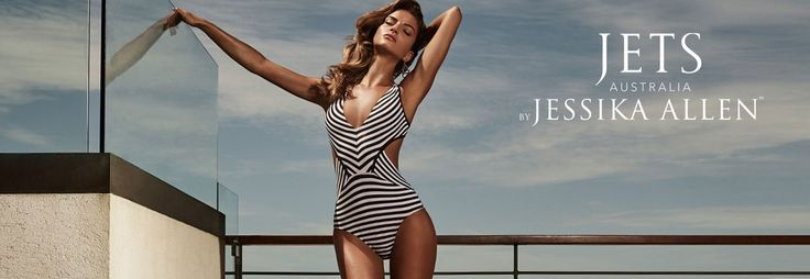 Southbeach Swimsuits - The Jets 2017 by Jessika Allen - Paradise Black and White Plunge One Piece is a deep plunge black and white striped one piece with an open criss cross back. #sponsored