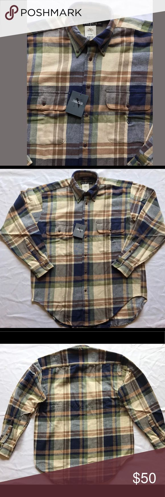 Selling this NAUTICA Navy Blue Brown BF Checkered LS Shirt NEW on Poshmark! My username is: rykrfinds. #shopmycloset #poshmark #fashion #shopping #style #forsale #Nautica #Other