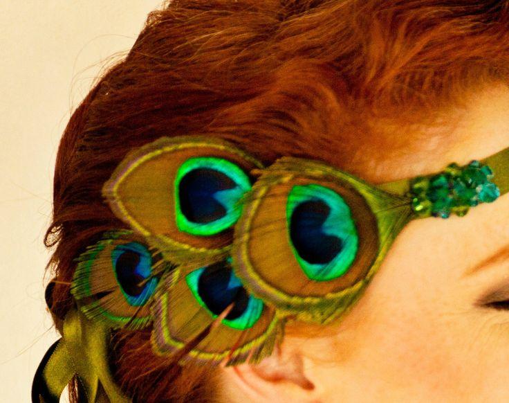 Headband Eden Accessoire coiffure mariage rétro - Vintage bridal accessories - Sautoir et Poudrier - Plumes de paon - Peacock