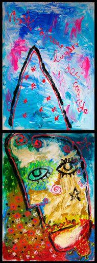 """""""Anoche viajé a un lugar desconocido (díptico)"""" de Victoria Barranco @ VirtualGallery.com - Díptico de pintura acrílica de 50x70 cm (50x140 cm, 19,7x55.1 in) en cartón. Arte marginal. Retrato de un hombre soñando. (2014)"""