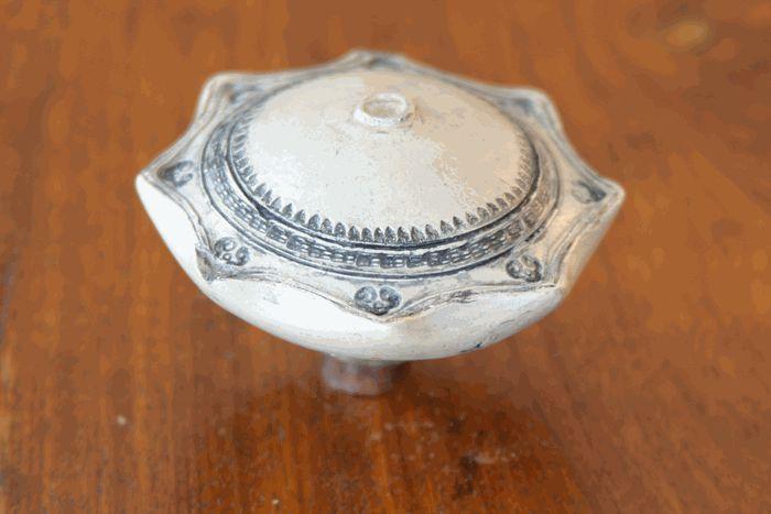 """19th century opium bowl 3 1/2"""" in diameter."""