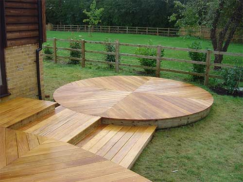 43 best images about decking ideas on pinterest gardens for Circular garden decking