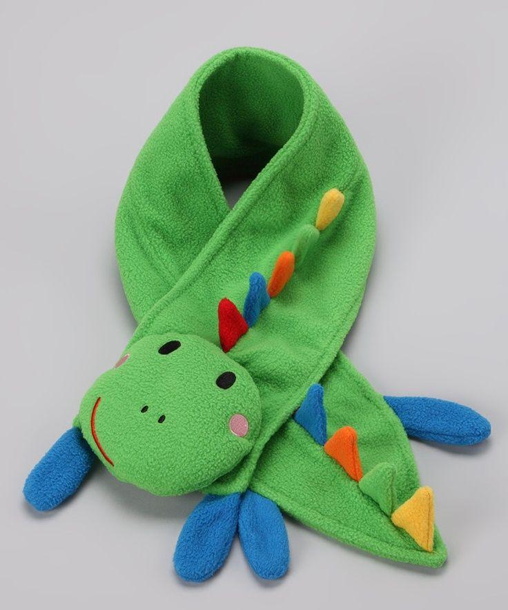 dinosaur fleece scarf | Green Dino Plush Scarf