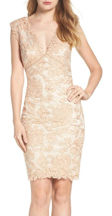 embroidered lace sheath dress by Tadashi Shoji. Corded with metallic shimmer, a richly embroidered lace sheath bewitches with a decollete neck and spine-tingling V-b...