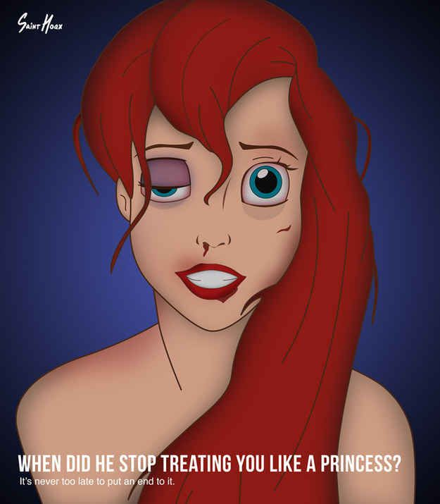 An Artist Has Created Shocking Posters Showing Disney Princesses As Victims Of Domestic Abuse