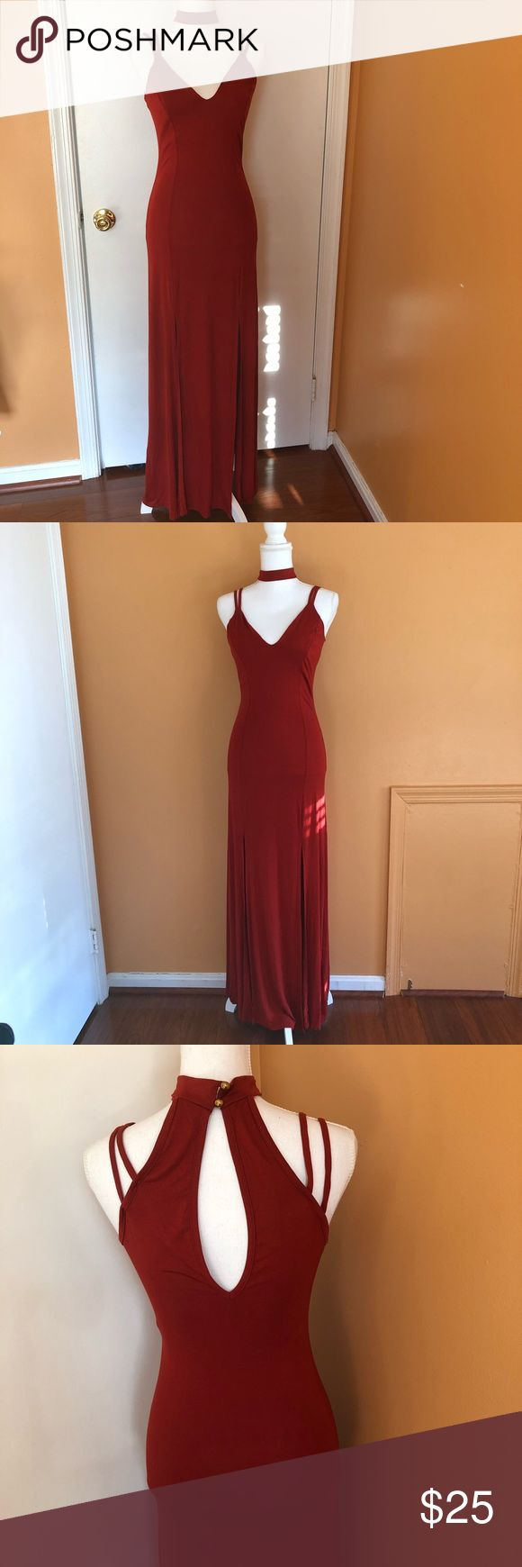Coral Maxi dress with chocker size Medium Cute Long/Maxi dress with attached chocker Size Medium  Two front slits Good condition Privy Dresses Maxi