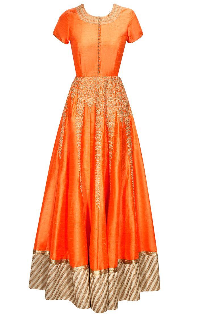 Orange dori embroidered anarkali gown with beige dupatta  by Anoli Shah. Shop now: www.perniaspopups.... #anarkali #beautiful #designer #anolishah #pretty #clothing #shopnow #perniaspopupshop #happyshopping