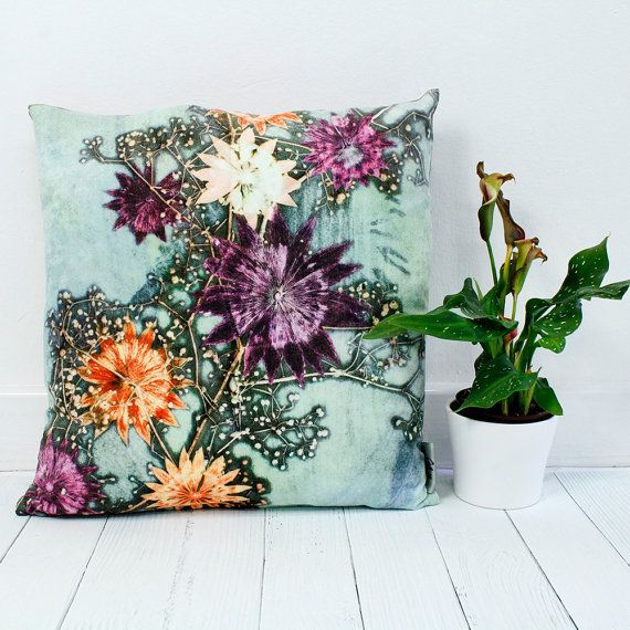 Handmade Floral Botanical Cushion, Branching Astrantia Design, Compliments Home Interiors, Perfect Home Decor