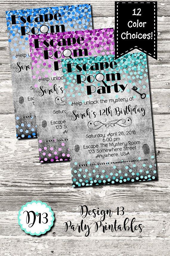 Escape Room Birthday Party Invitation Coloful Confetti Digital