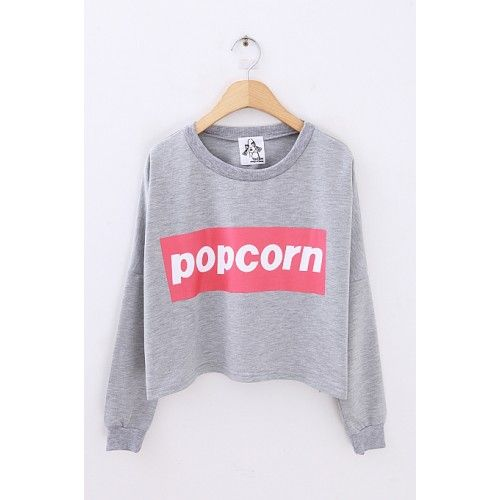 Crop POPCORN round neck jersey Shop Now: http://ontrendmall.com/index.php?route=product/product&product_id=235