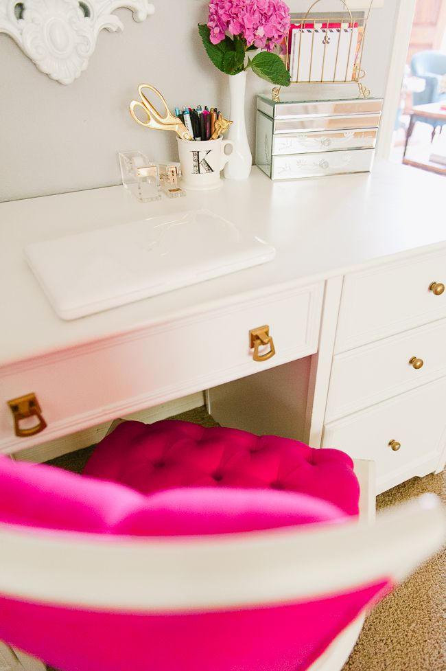 white gold and hot pink desk decor