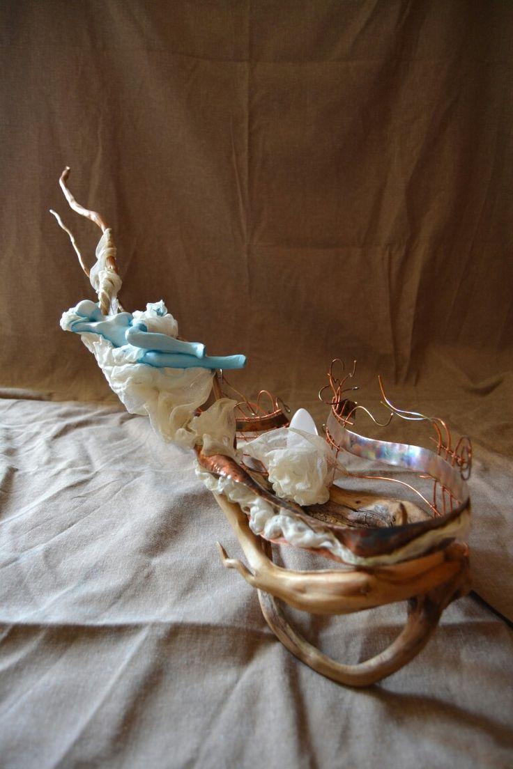 'damare' lampada legno rame cartapesta