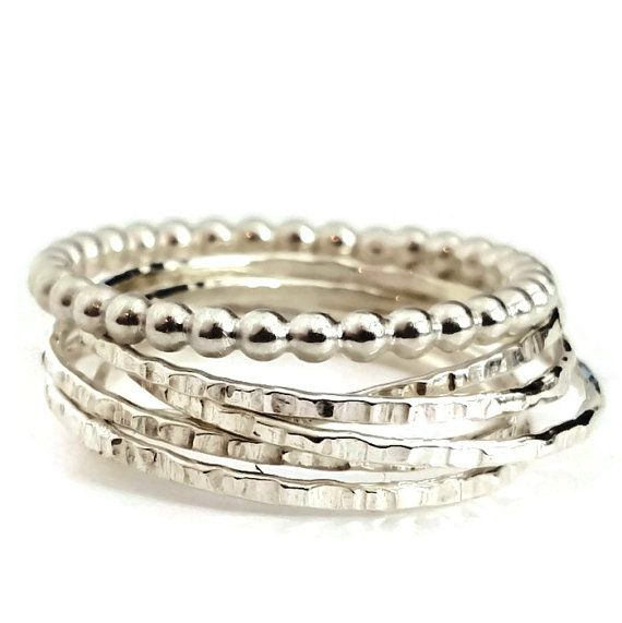 Silver Russian Interlocking Beaded Wedding Rings by VenexiaJewelry