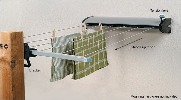 Retractable Clothesline. Largely made of steel, with a weatherproof powder-coat finish, suitable for indoor or outdoor use. (Lee Valley Tools)