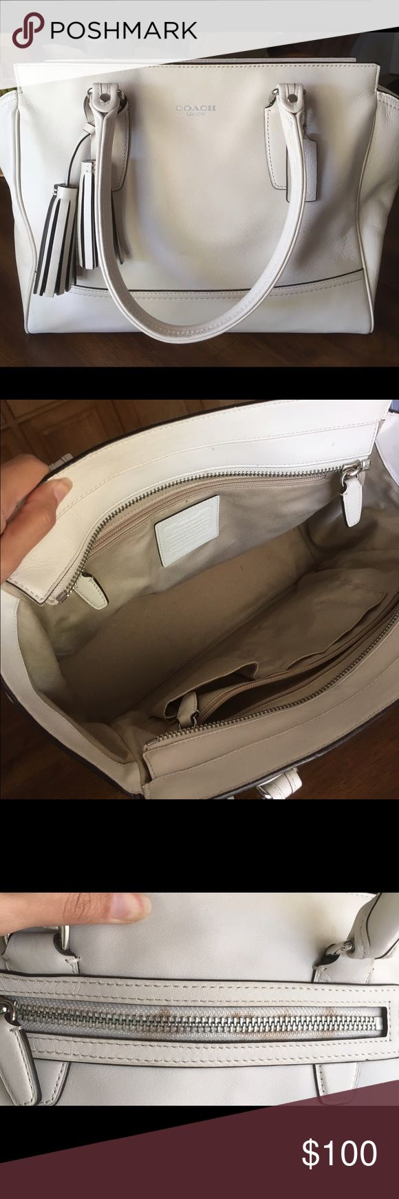 Coach Legacy Leather Medium Candace Bag Authentic Coach bag! Has some stains on the back zipper. Includes leather moisturizer! Coach Bags Satchels
