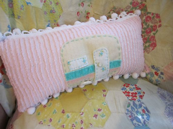 Vintage Trailer Pillow Chenille Pillow Hand