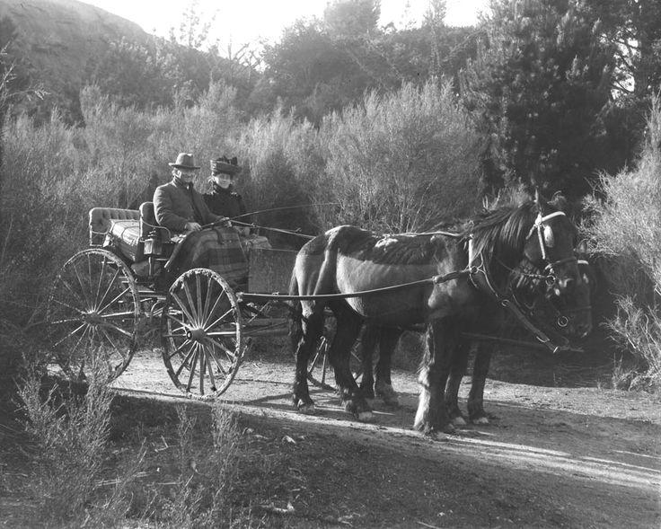 Man and woman in a horse drawn buggy at Huka Falls