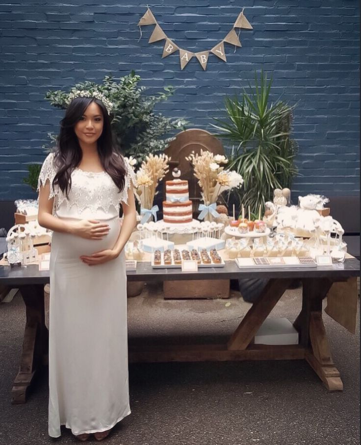Rustic Neutral Lamb Baby Shower Cake Dessert Table