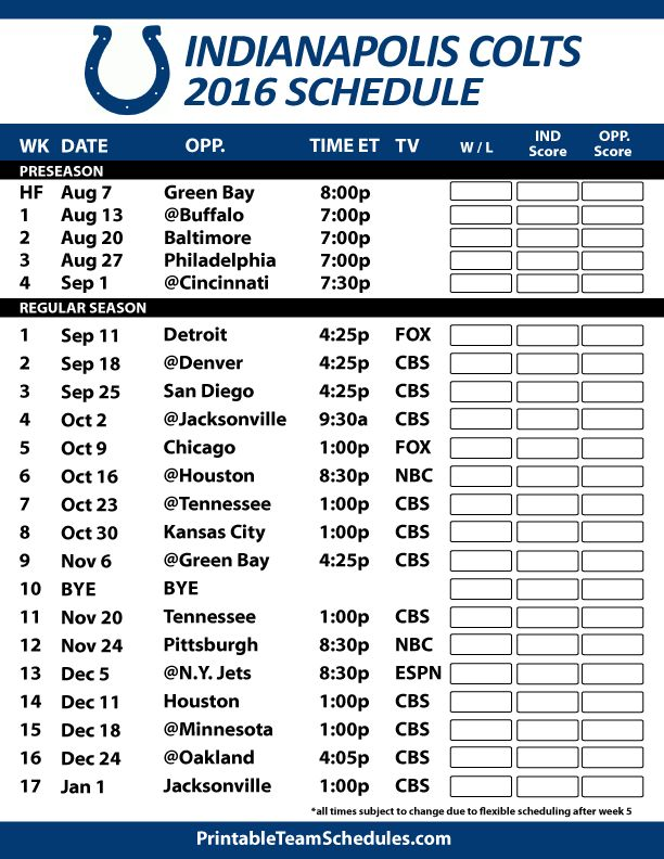 2016-17 Indianapolis Colts Schedule