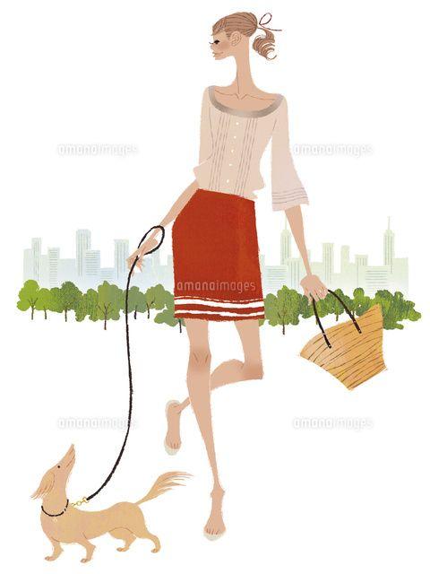 #illustration #fashionillustration #yukoyoshioka #shopping #town #relax #dog