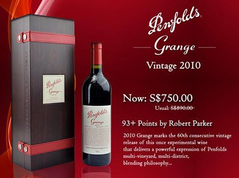 EXCLUSIVE ONLINE OFFER NOW ON! Penfolds Grange Vintage 2010 Now S$750.00 (usual $890.00) Limited time only! Hurry, order yours online now: http://www.oaks.com.sg/p/7826/Penfolds-Grange-2010
