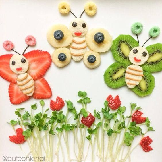 Garden Butterflies Fruit Art; Featuring Bananas,Kiwi,Strawberries,Blueberries & Fruit Loops Cereal.