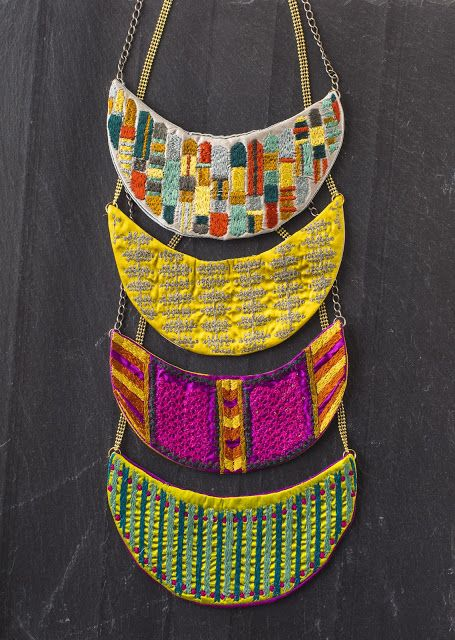 Tribal embroidered necklace bibs